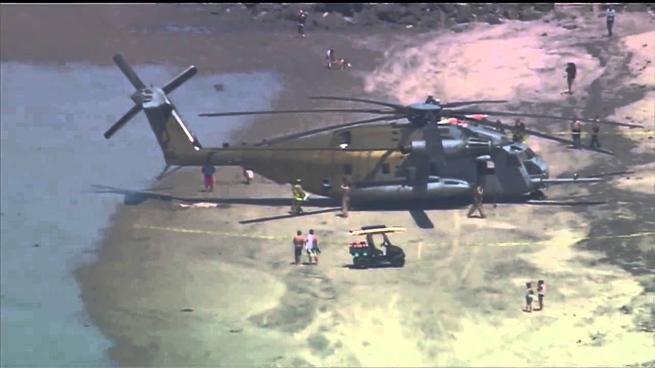 USMC CH-53E made an emergency landing at San Diego beach
