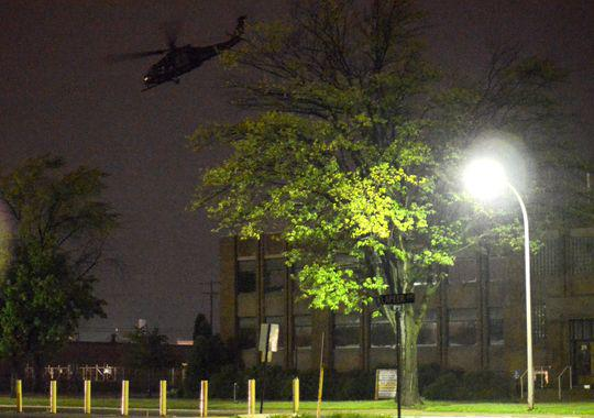 Military helicopter damages building during urban training in Port Huron