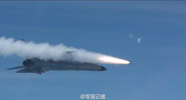 Chinese navy PLAN Xian JH-7 fires air to air missile 1