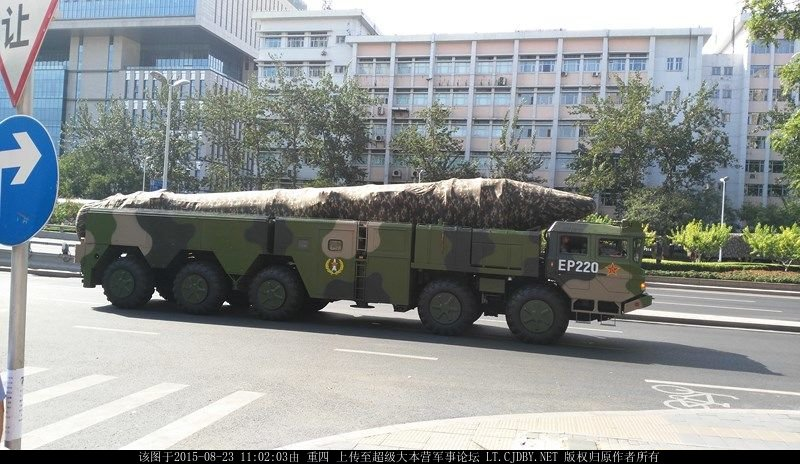 Photo of new Chinese missiles at the rehearsal of the military parade