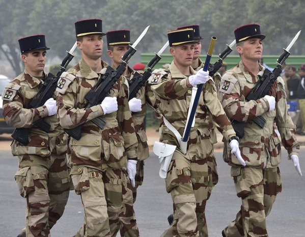 French soldiers practise at Rajpath before the main event on Republic Day ‏@manojsirsa