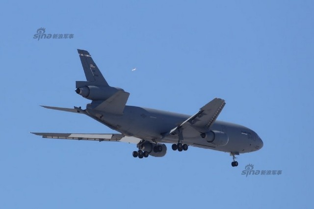 KC-10 aerial refueling tanker of United States Air Force   arrive at Kadena Air Base to Japan