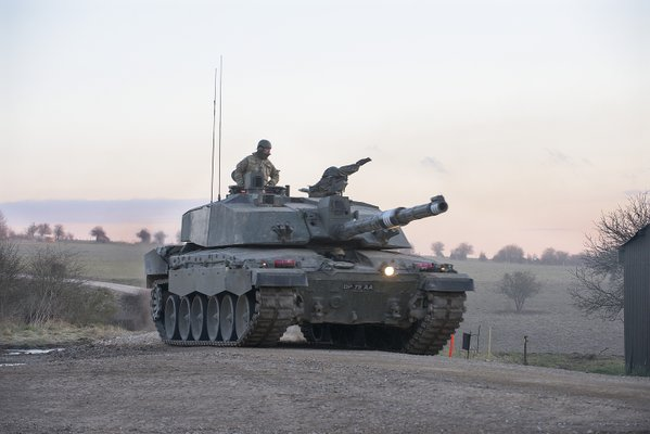 British Army - Challenger 2 tanks on Salisbury Plain Training Area during Exercise Tractable 3