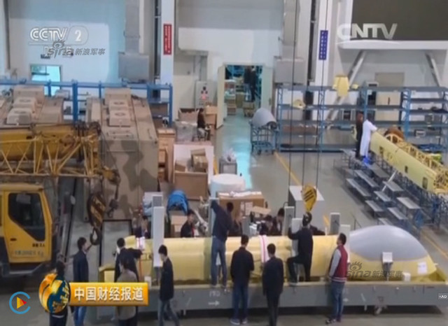 Chinese CCTV 2 channel screen grab of Pterosaurs unmanned attack drone production plant 14