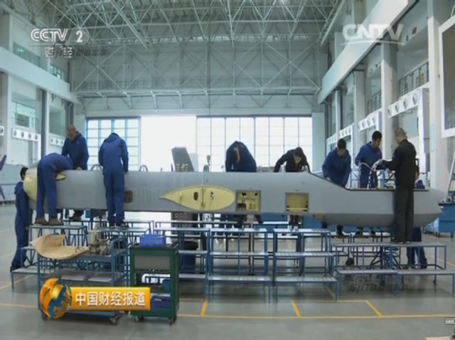 Chinese CCTV 2 channel screen grab of Pterosaurs unmanned attack drone production plant 15