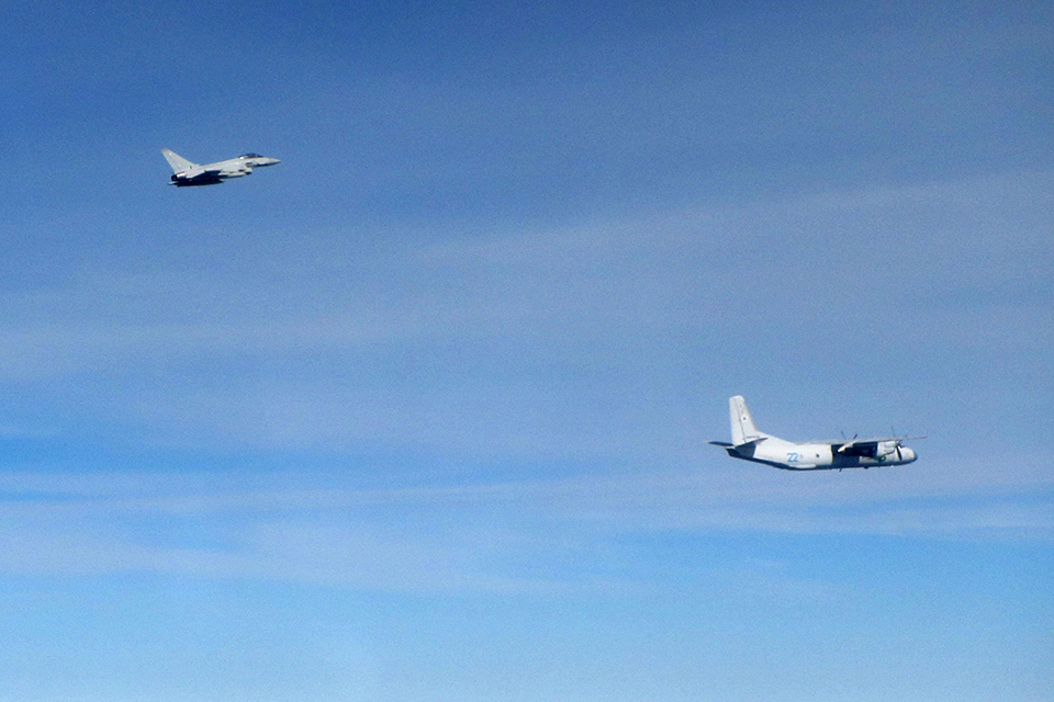 RAF Typhoon and Russian AN-26 Curl. Crown Copyright.