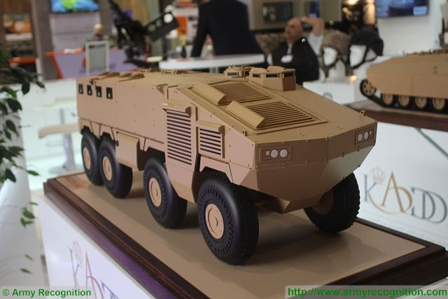 Scale model of KADDB project of 8x8 armoured vehicle personnel carrier at DSEI 2015 (c) www.armyrecognition.co