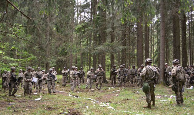 Troopers from 5th Squadron, 7th Cavalry Regiment conduct a combined arms rehearsal May 17 as they prepare to start the force-on-force portion of Combined Resolve VI at Hohenfels, Germany. Combined Resolve VI is a squadron-level decisive action rotation...