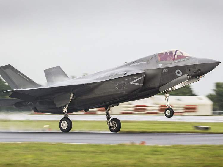 First Royal Air Force F-35B Lightning II  fighter jet lands In UK