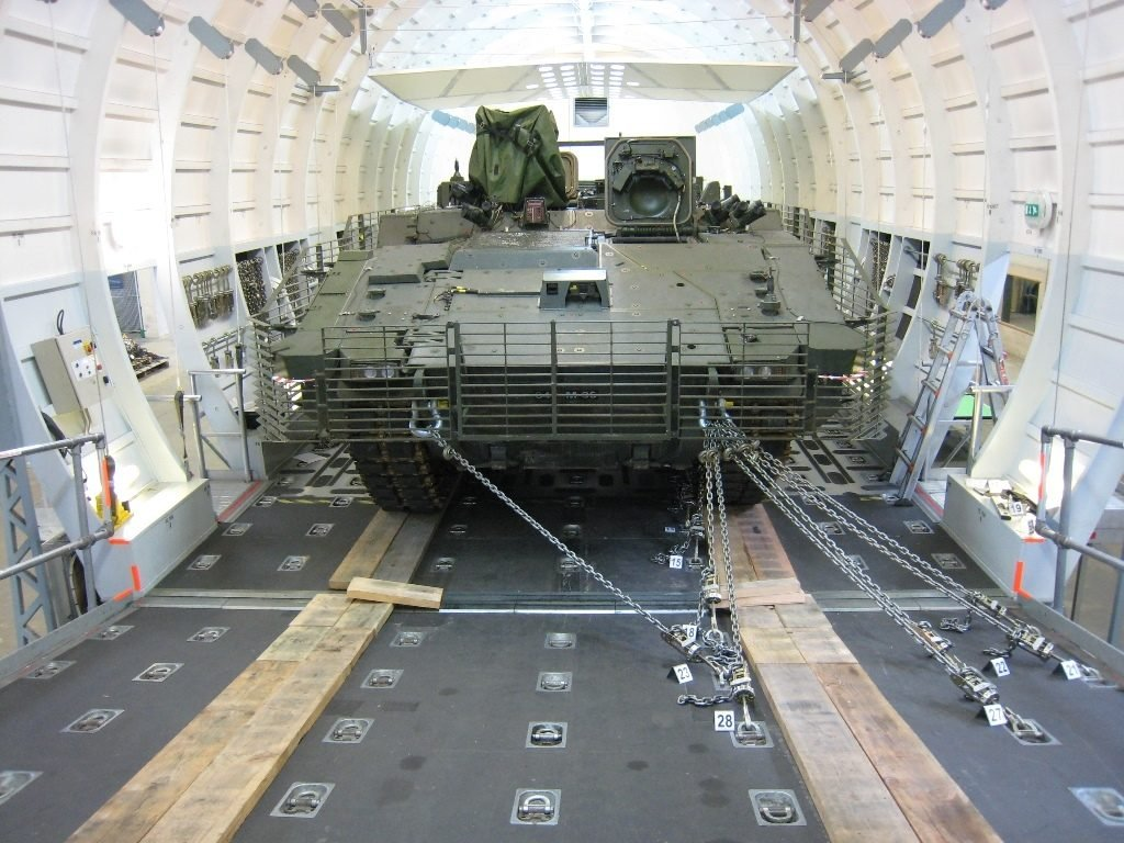 ARES loaded onto C-17A Globemaster III mock-up (c) General Dynamics United Kingdom Limited