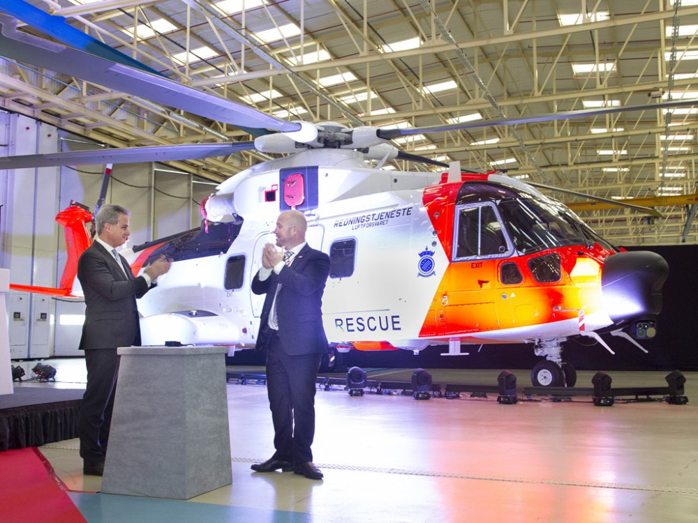 AW101 Norwegian all-weather SAR helicopter unveiled by Norway's minister of justice and public security