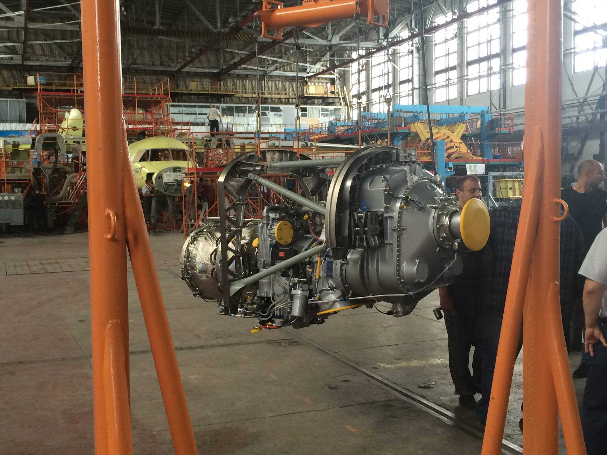 Mounting of the Pratt&Whitney Canada  engines on An-132D aircraft  is started at Antonov company