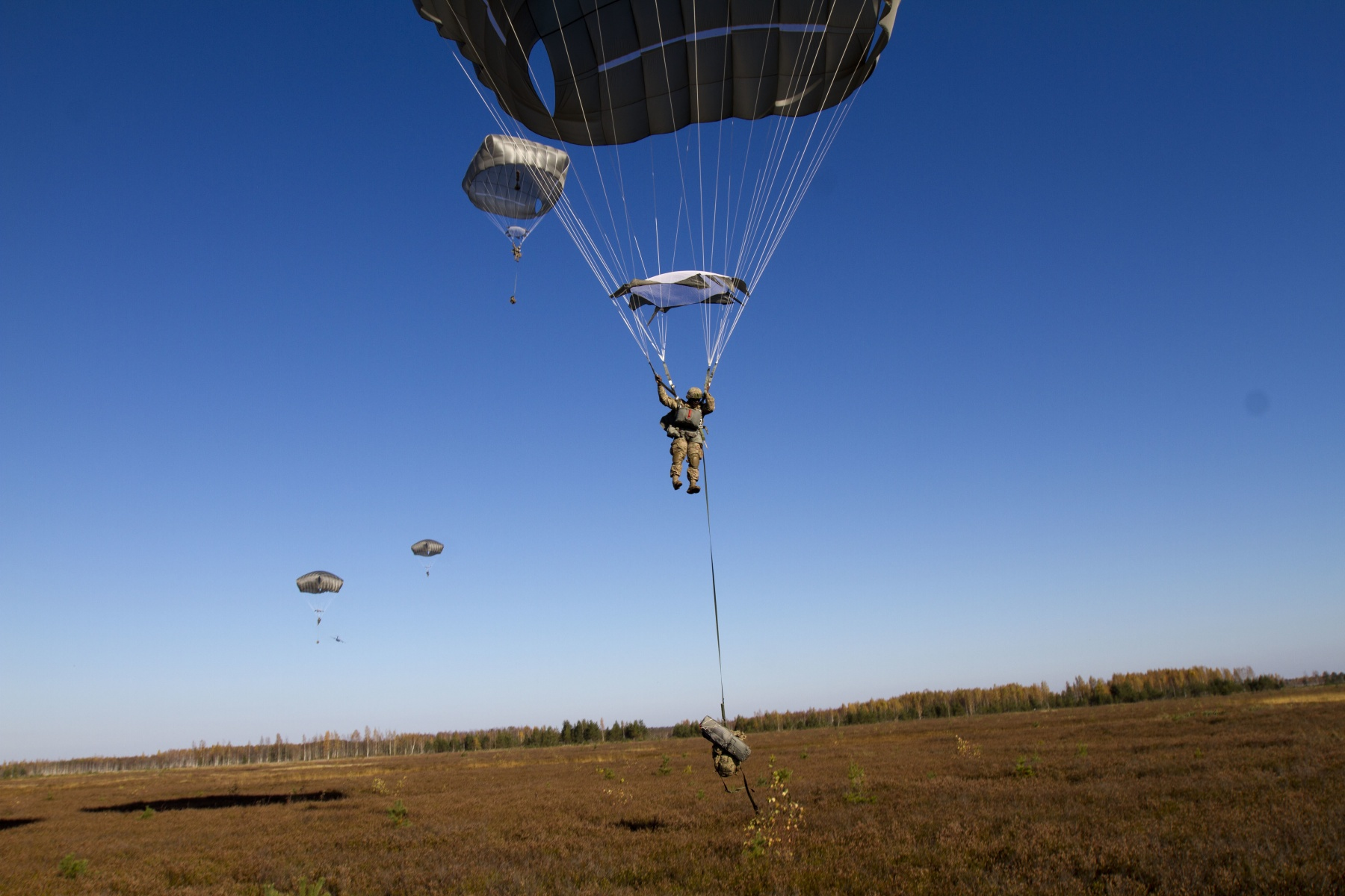 US Paratroopers participate in the opening ceremony of Silver Arrow exercise in Latvia