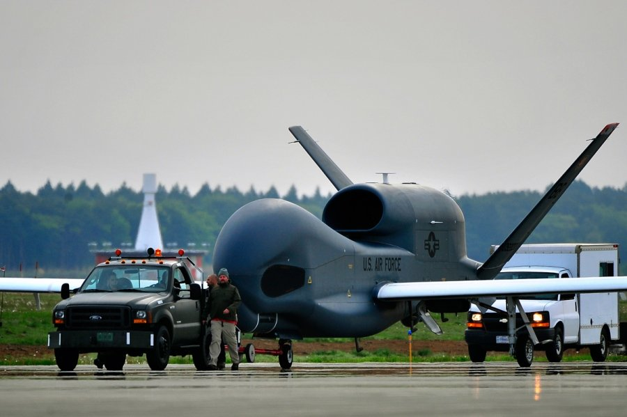US giant unmanned surveillance aircraft flying over Ukraine