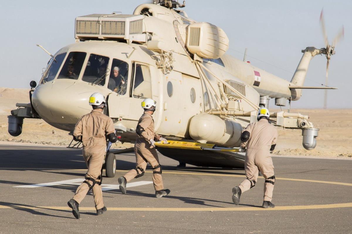 Mi-17V-5 helicopter equipped with President-S onboard defence system spotted in Egypt