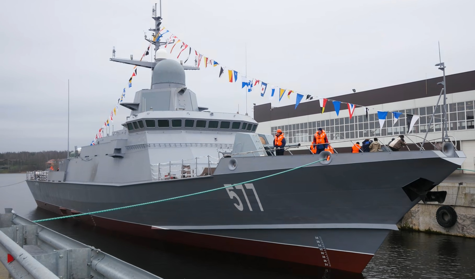 New Russian Karakurt-class missile corvette launched at Pella Leningrad Shipyard