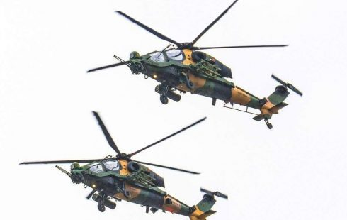 Turkish T129 attack helicopters takes part in Pakistan's military parade