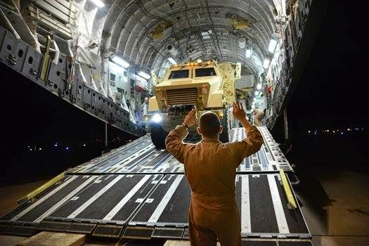US MRAPs delivered on C-17 Globemaster III in Erbil, Iraq 1