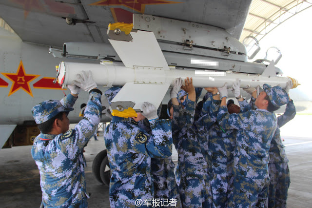 Chinese navy PLAN Xian JH-7 fires air to air missile 2