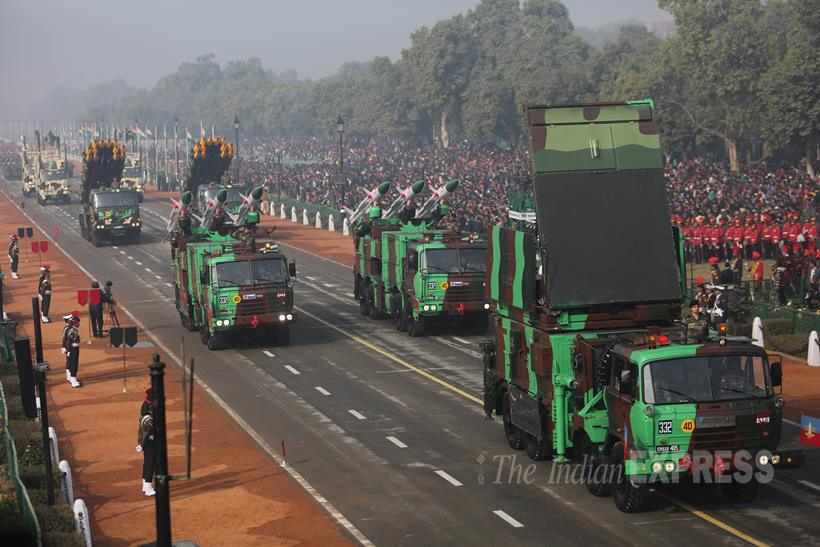 Multi-barrel missile system is rolled on the Rajpath during the full dress rehearsal for the Republic Day parade, in New Delhi. (Source: Photo by Tashi Tobgyal)