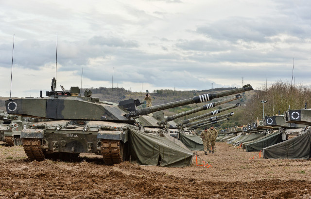 British Army - Challenger 2 tanks on Salisbury Plain Training Area during Exercise Tractable 9