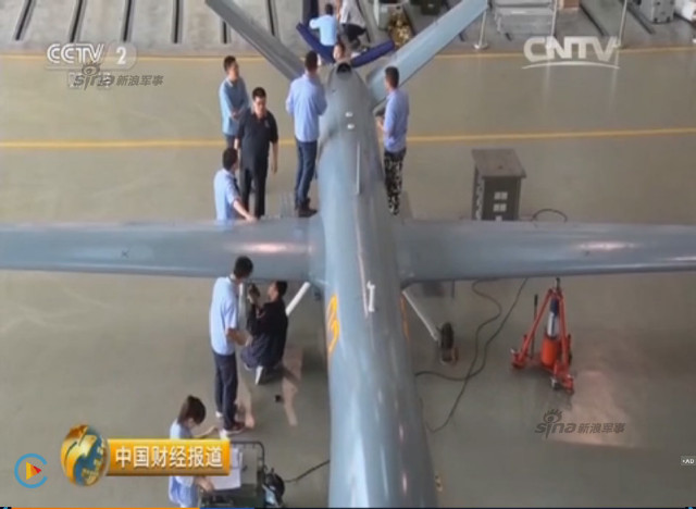 Chinese CCTV 2 channel screen grab of Pterosaurs unmanned attack drone production plant 9