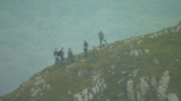 The people who safely escaped the helicopter were spotted by a walker