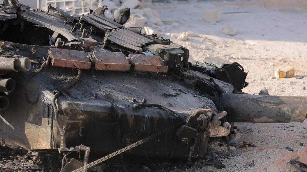 syrian militants destroyed russia made t 90 near of abu kamal